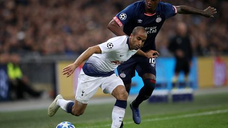 Tottenham Hotspur's Lucas Moura and PSV Eindhoven's Pablo Rosario battle for the ball (Pic: Adam Dav