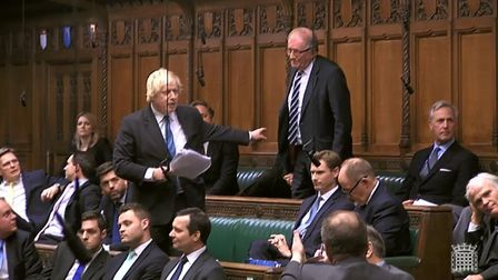 Sir Roger Gale in a firey exchange with Boris Johnson in the House of Commons. Photograph: Parliamen
