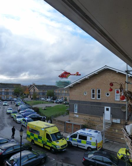 The air ambulance was scrambled to Leabank Square