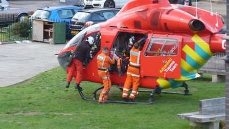 The air ambulance was scrambled to Leabank Square in Hackney Wick