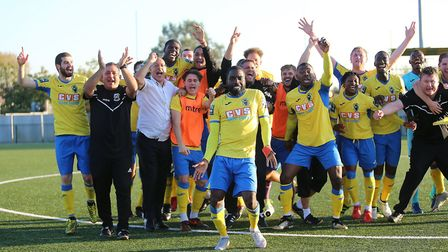 Celebrations at the final whistle after Haringey Borough qualified for the first round of the FA Cup