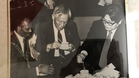 Kenrick Hanson having tea at the Britannia as the Japanese Chamber of Commerce visit Hackney. Pictur