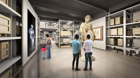 An artist's impression of a flexible display space at the new V&A collection and research centre at