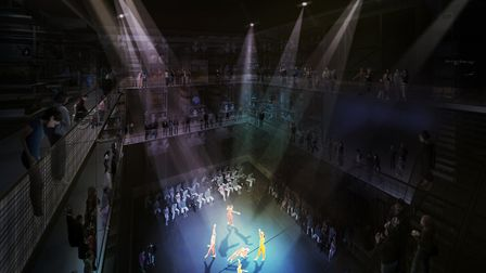 An artist's impression of a performance at the new V&A collection and research centre at Here East.