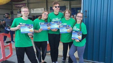 Staff from Corton Coastal Village celebrate their skydive. Picture: Warner Leisure Hotels