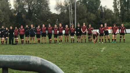 Hampstead line up ahead of their Women's Championship South East Two clash at Beckenham (pic: Hampst