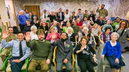 Servicemen entertained residents at Spring Grove in Swiss Cottage as part of Mitzvah Day. Picture: Y