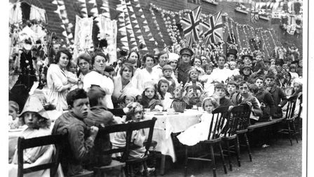 A peace celebration party in Digby Road, Homerton, after the end of the Great War, 1919. Pic: Hackne