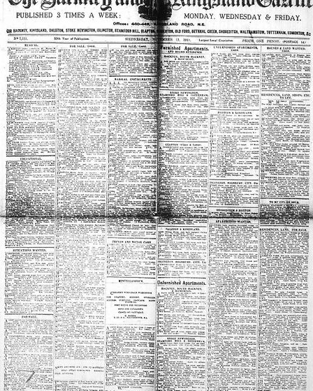 The front page of the Hackney and Kingsland Gazette from November 1918. Pic: ARCHANT
