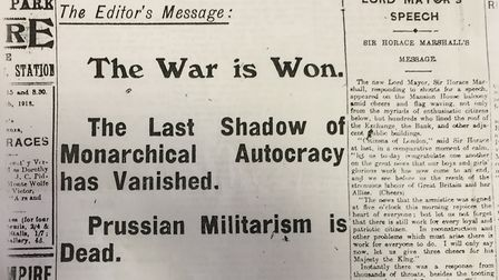 Editorial from the Islington Gazette edition announcing the First World War had ended. Pic: ARCHANT