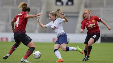 Angela Addison in action for Tottenham Hotspur Ladies against Manchester United Women (pic: Wu's Pho
