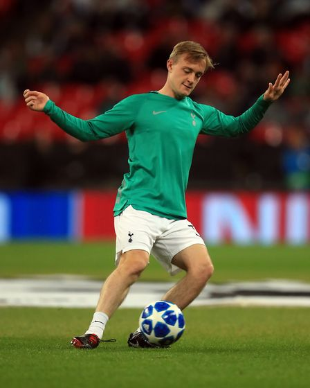 Tottenham Hotspur's Oliver Skipp trains ahead of the Group B Champions League match with Barcelona a