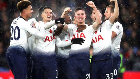 Tottenham Hotspur's Juan Foyth (centre) celebrates scoring his side's first goal of the game with te