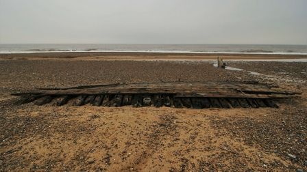 Photos of the wreck on the Covehithe coast. Picture: Ian Hart