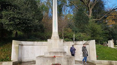 The wreath on the war memorial at Highgate Cemetery.Picture: Harry Taylor
