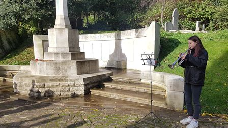 Channing School sixth former Olivia Dugdale played the Last Post on her trumpet at Highgate Cemetery