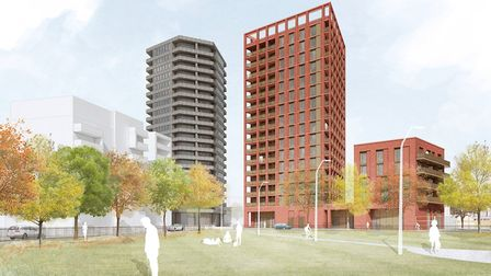 A digital impression of the 16-storey tower block on the corner of Bridport Place. Photo by Hackney