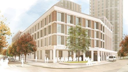 A digital impression of the proposed secondary school (City of London Shoreditch Park) on the corner