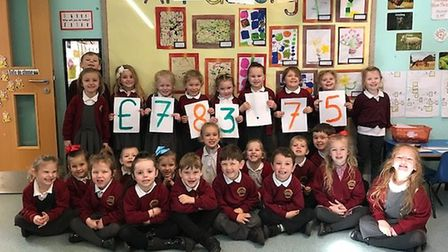 Pupils at Pakefield Primary celebrate the fundraising efforts. PICTURE: Courtesy of Pakefield Primar