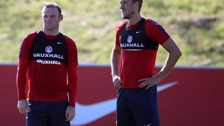 Wayne Rooney (left) and Harry Kane during a training session at St George's Park (pic: Nick Potts/PA