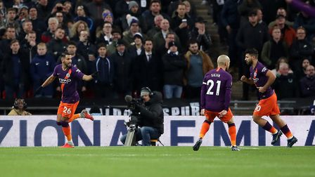 Manchester City's Riyad Mahrez celebrates scoring his side's first goal of the game during the Premi