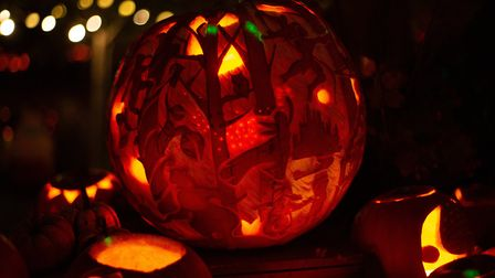Eco's giant fairytale pumpkin on display for the festival of light at the Dalston Eastern Curve Gar