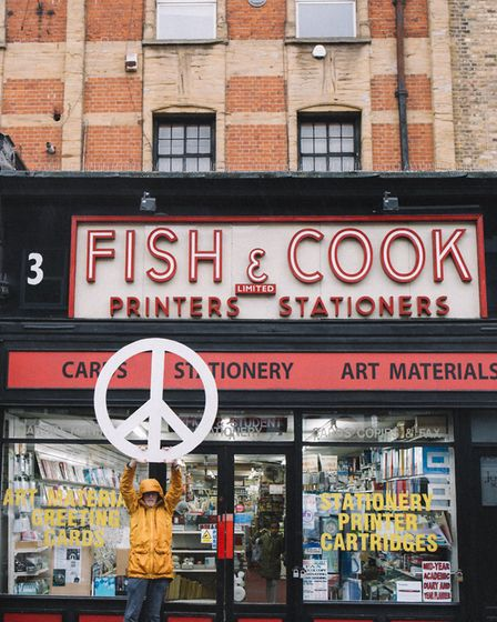 The peace plaque will be erected above the Fish and Cook Stationers at 3 Blackstock Road, where Holt