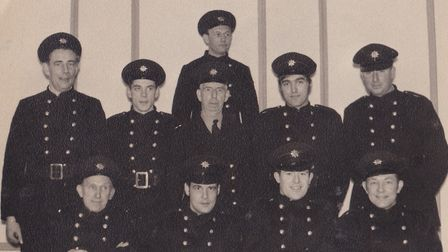 An old photo shows members of the Auxiliary Fire Service. Picture: Courtesy of Peter Walker