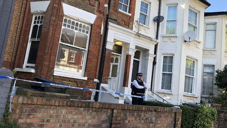 Police at the house in Wilderton Road where DJ Elyon Poku was killed at an 18th birthday party. Pict