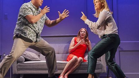 Gavin Spokes as Harry, Rosalie Craig as Bobbie and Mel Giedroyc as Sarah in Company, picture by Brin