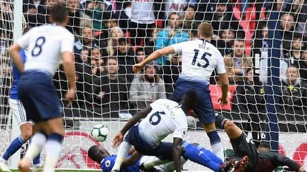 Tottenham Hotspur's Eric Dier scores his side's first goal of the game during the Premier League mat