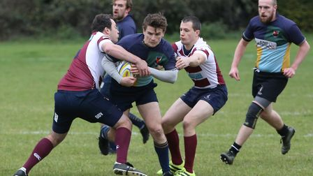 Hackney RFC on the attack in the match between Welwyn RFC and Hackney. Picture: DANNY LOO