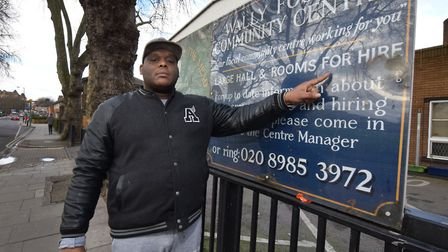 Elijah Anderson outside the Wally Foster Community Centre, Homerton. Picture: Polly Hancock
