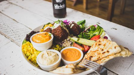 Usually served at the weekends, Black Cat Caf�s falafel comes with hummus, roasted red pepper dip,