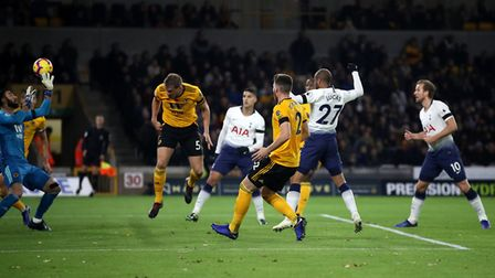 Tottenham Hotspur's Lucas Moura (second right) scores his side's second goal of the game during the