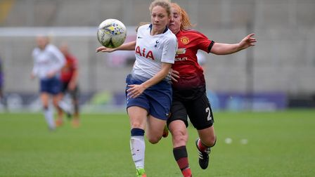 Angela Addison attempts to bring the ball forward for Tottenham Hotspur Ladies against Manchester Un