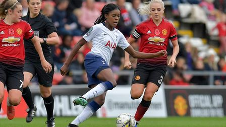 Jessica Naz looks to get Tottenham Hotspur Ladies on the front foot against Manchester United Women