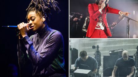 Little Simz (left), The Chemical Brothers (bottom right) and Primal Scream (above right) will play t