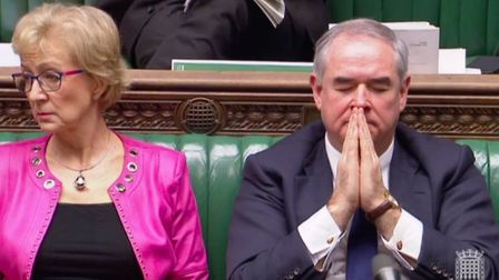 Andrea Leadsom and Geoffrey Cox in the House of Commons ahead of the historic vote. Photograph: Parl