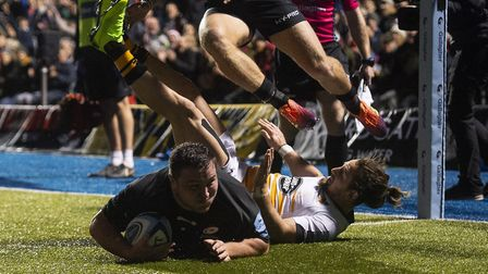 Saracens' Jamie George scores a try against Wasps (pic: Victoria Jones/PA)
