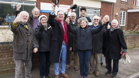 Members of Save Our Southwold/SouthGen celebrate in February after the exchange of contracts. Pictur