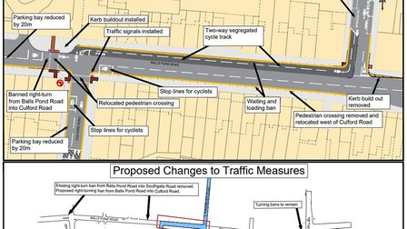 Detailed designs for the 100m stretch of Balls Pond Road where Hackney Council wants to build a two-