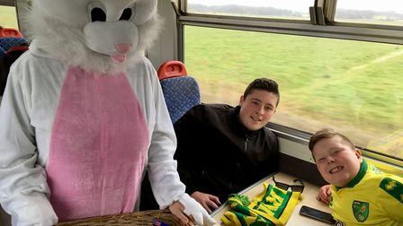 Norwich fans are greeted by the Easter bunny on their train from Lowestoft. Picture: Wherry Lines Co