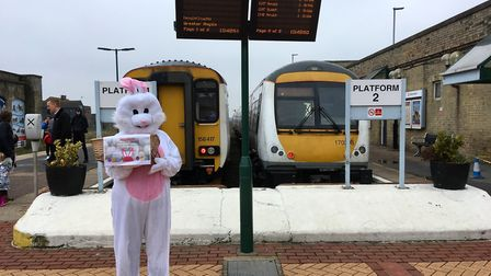 The Easter bunny at Lowestoft station. Picture: Wherry Lines Community Partnership