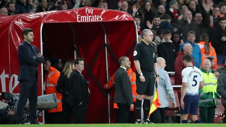 Tottenham Hotspur's Jan Vertonghen leaves the pitch after being sent off during the Premier League m
