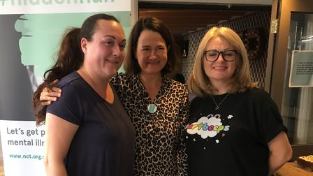 Delphine Grauf (left) with Catherine West who supports the #hiddenhalf maternal mental health campai