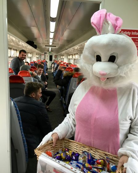 The Easter bunny made a surprise appearance on the 10.57 to Norwich. Picture: Wherry Lines Community