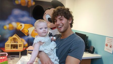 Love Island star Eyal Brooker with one-year-old Millie. Picture: Royal Free Hospital