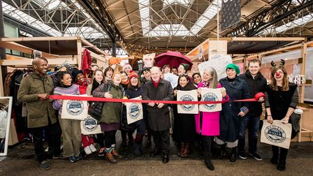 Members of the East End Trades Guild with Tower Hamlets mayor John Biggs at Spitalfields Market on S