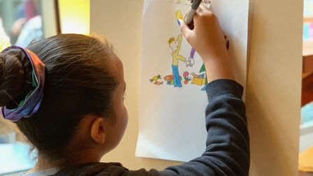 Children taking part in a Quentin Blake-inspired drawing workshop at The Kids Network. Picture: Sara